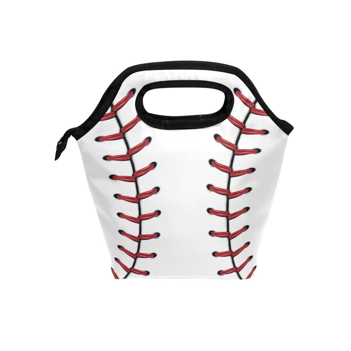 Naanle Sport Baseball Insulated Zipper Lunch Bag Cooler Tote Bag for Adult Teens Kids Girls Boys Men Women, Sport Lunch Boxes Lunchboxes Meal Prep Handbag for School Office
