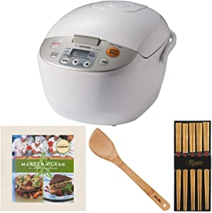 Zojirushi Micom Rice Cooker and Warmer (10-Cup/Beige) with Bamboo Chopsticks (5-Pairs), Stir Fry Spatula, and Cookbook Bundle (4 Items)