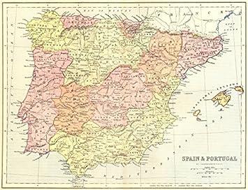 España. & Portugal – 1870 – Old Antiguo Mapa Vintage Mapas de estampado de España: Amazon.es: Hogar