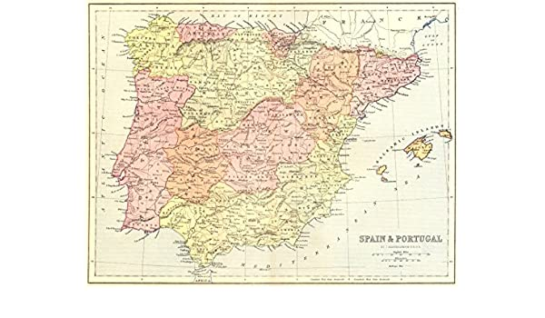 España. & Portugal – 1870 – Old Antiguo Mapa Vintage Mapas de ...