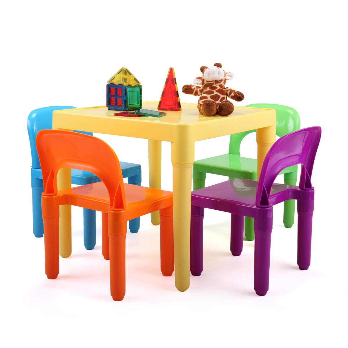 Kids Plastic Table and Chair Set Learn and Play Activity School Home Furniture for Toddler Children Aged 30-96 Months by JAXPETY