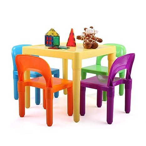 Amazon.com: Juego de mesa y silla de plástico para niños de ...