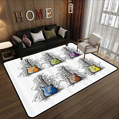 "Rugs for Sale,Music,Sketchy Lines Colored Design Guitar Insrument Collage Teens Rocker Song Lovers Image,Multicolor 47""x 71"" Kitchen Mat"