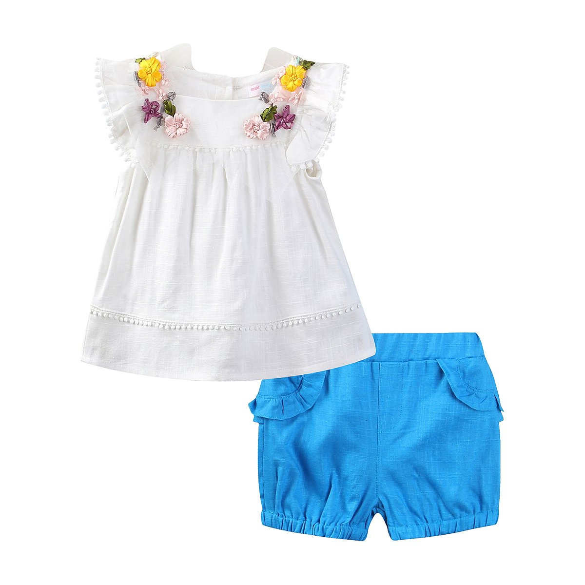 Mud Kingdom Flower Girls Outfits Butterfly Sleeve Shirt and Short Clothes Sets S-T0224