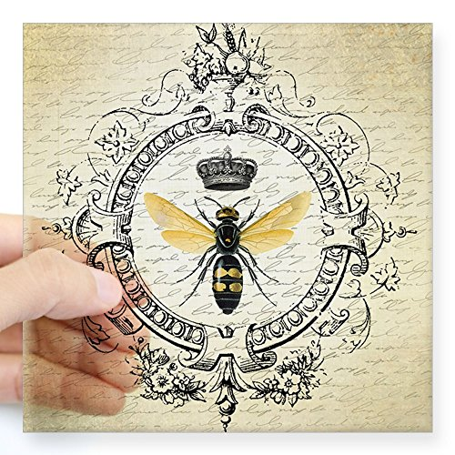 (CafePress Vintage French Queen Bee Sticker Square Bumper Sticker Car Decal, 3