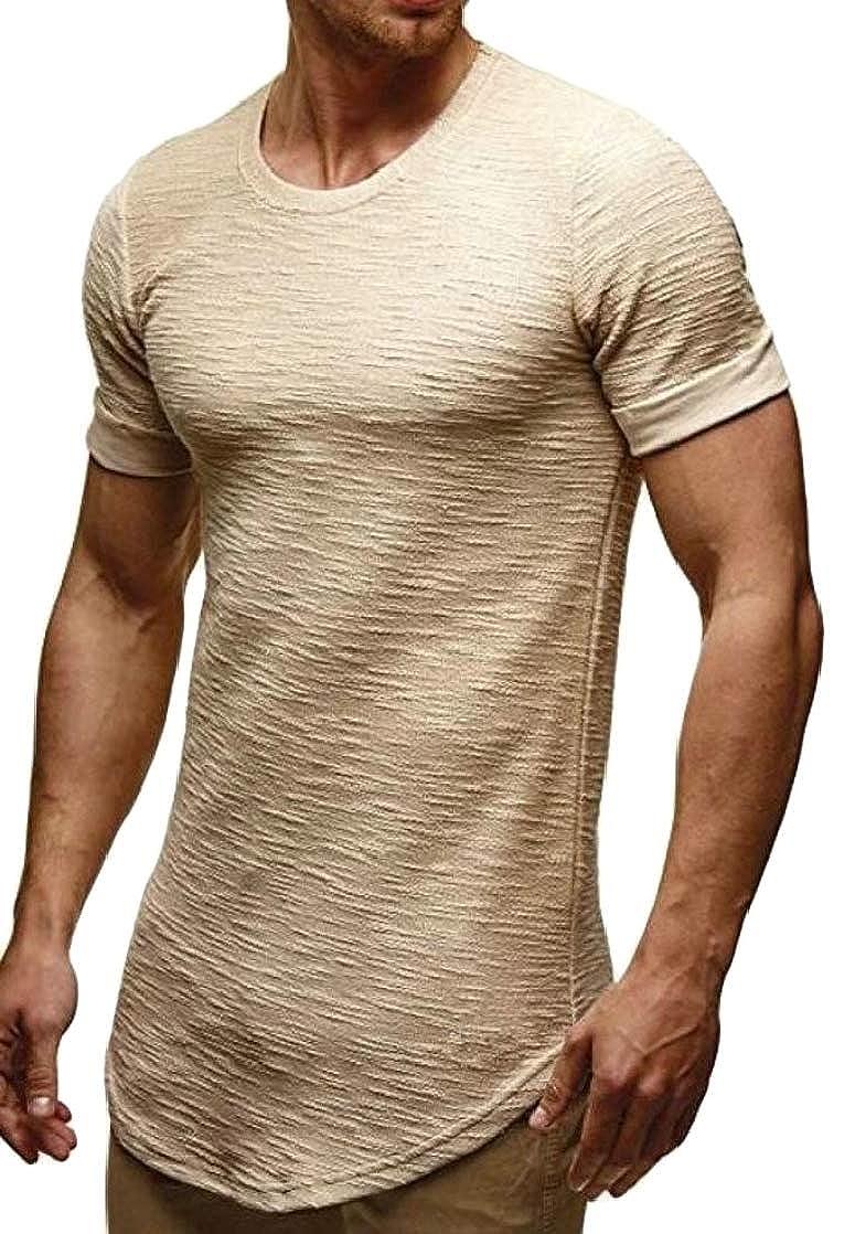 Joe Wenko Mens Curved Hem Ruched Short Sleeve Slim Fit Crewneck Top Tee T-Shirts