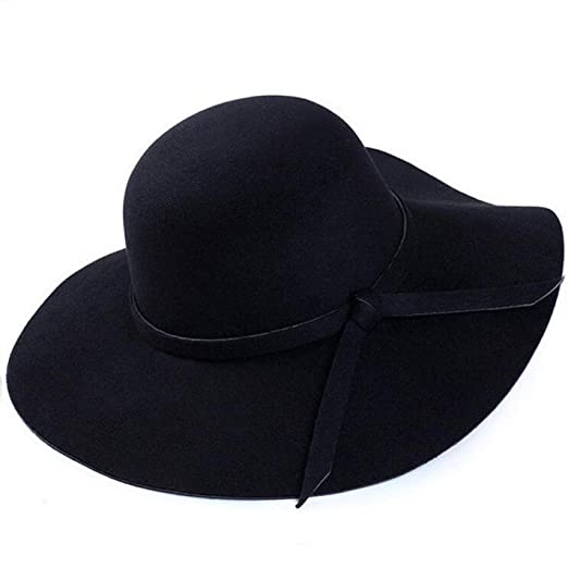 9f67a1a4acd New Vintage Country Style Girl Fashion Women Wide Brim Hat Felt Bowler Cap  Lady Floppy Cloche Solid Bowknot Elegant Sun Hat Black at Amazon Women s  Clothing ...
