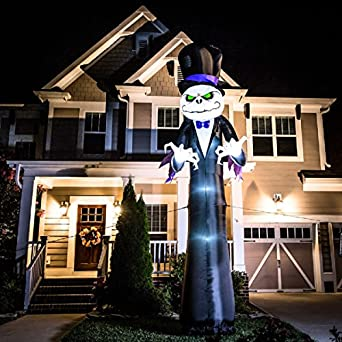 halloween inflatable colossal 16u0027 reaper with led lightshow short circuit lighting effects by gemmy
