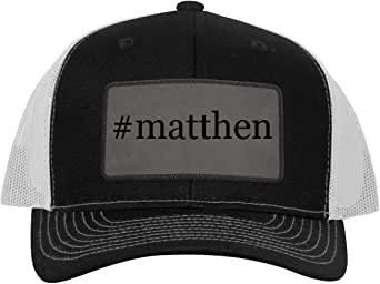 #matthen - Leather Hashtag Grey Patch Engraved Trucker Hat ...