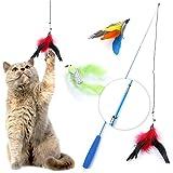 猫じゃらし 羽のおもちゃ じゃれ猫 釣り竿 3段階伸縮 鈴付き 2win2buy リフィル 交換用 パック 鳥の羽根×3