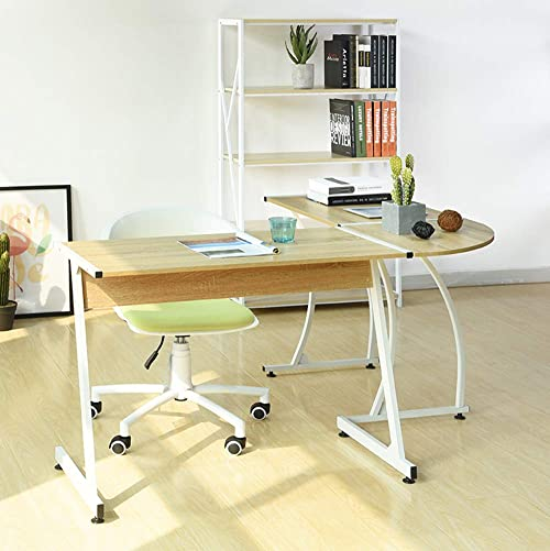 Symylife Modern L-Shape Corner Computer Desk Round Corner Desk Gaming Desk Table