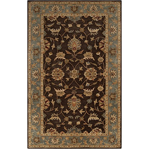 (Surya Ancient Treasures A-148 Classic Hand Tufted 100% Semi-Worsted New Zealand Wool Espresso 9' x 13' Traditional Area Rug)