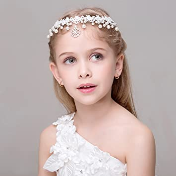 Amazon.com   White Lace Pearl Rhinestone Forehead Headbands Hairbands for  Girls Women Hair accessories Headpiece   Beauty 9a73d94938d