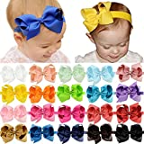 DEEKA 20 PCS 4'' Grosgrain Ribbon Bows Headbands Fashion Hair Bows Hair Band for Baby Girls
