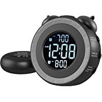 USCCE Loud Dual Alarm Clock with Bed Shaker - 0-100% Dimmer, Vibrating Alarm Clock for Heavy Sleepers or Hearing…