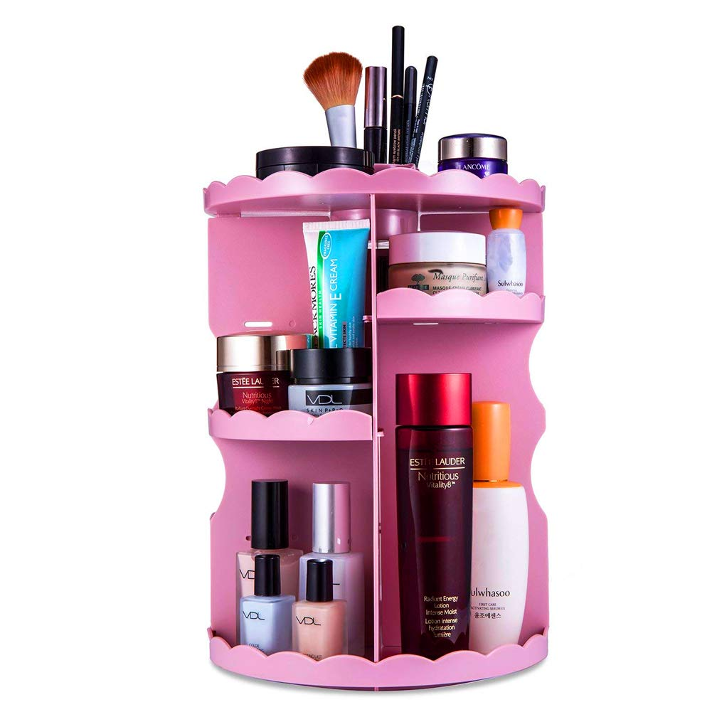 Angker - Porta cosmetici girevole a 360gradi, regolabile e rimovibile, multifunzione per riporre o esporre cosmetici o gioielli Nero