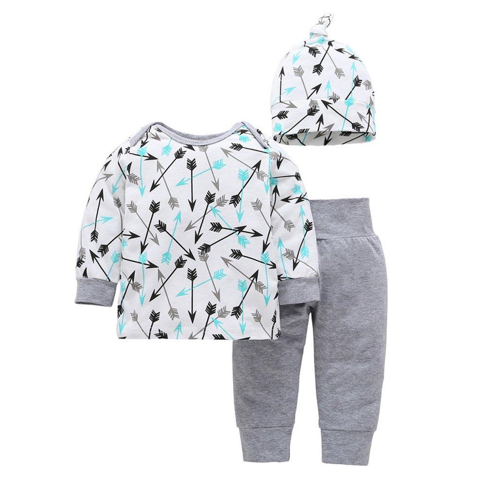 Baby Boys Girls Arrows Pattern Shirt Top Pants Hat 3pcs Outfits Toddler PJS
