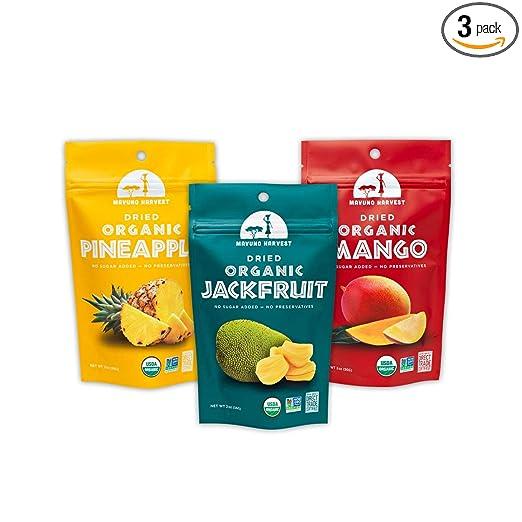 Organic dried pineapple, jackfruit, and mango