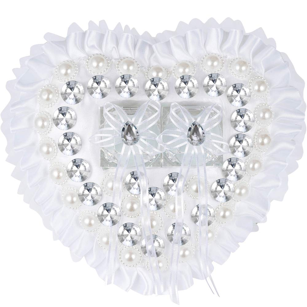 LONGBLE Embroidered Wedding Bridal Large Satin Ring Pillow Ring Bearer Pillow Cushion (W8) by LONGBLE