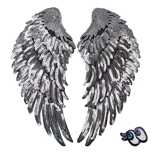 LoveInUSA 1 Pair Silver Sequins Angel Wings Iron On Patch DIY Embroidered Applique Bling Wings for Jackets Cloth Decoration Valentines Day Gifts (Sequin Eye for Free)