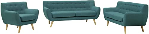 Modway Remark Mid-Century Modern Upholstered Fabric Living Room Set, Armchair Loveseat Sofa, Teal