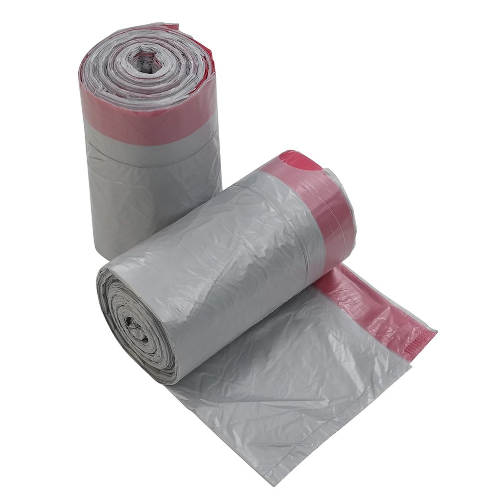 Qsbon 5 Gallon Drawstring Trash Bag, 125 Counts, Gray