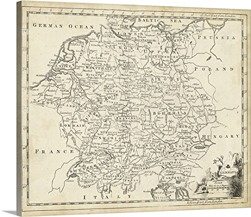 Thick-Wrap Canvas Wall Art Print entitled Map of Germany 24