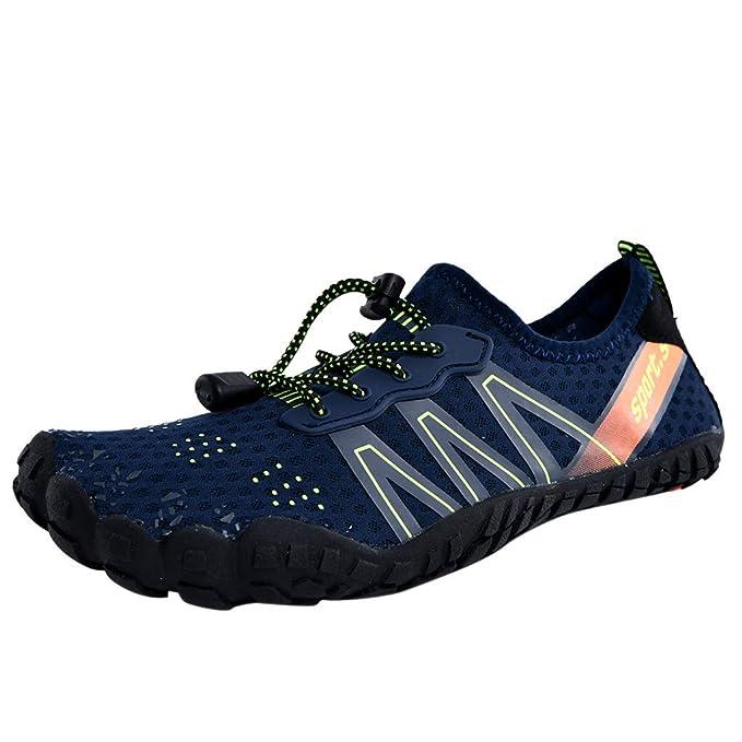 Zapatillas de Running para Hombre,JiaMeng Gimnasio Correr Sneakers Zapatos de Agua para la Piscina Piscina en la Playa Natación Cordón Zapatos de Buceo de ...
