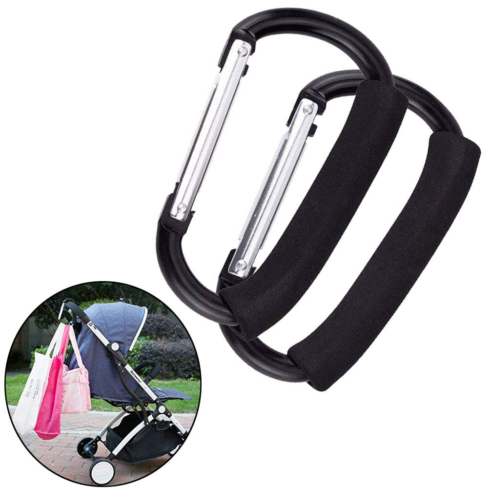 VintageBee 2 XLarge Stroller Hook Mommy Organizer for Hanging Diaper Shopping Bag Multi-Purpose Gift Packing Hanger Outdoor Climbing Hooks