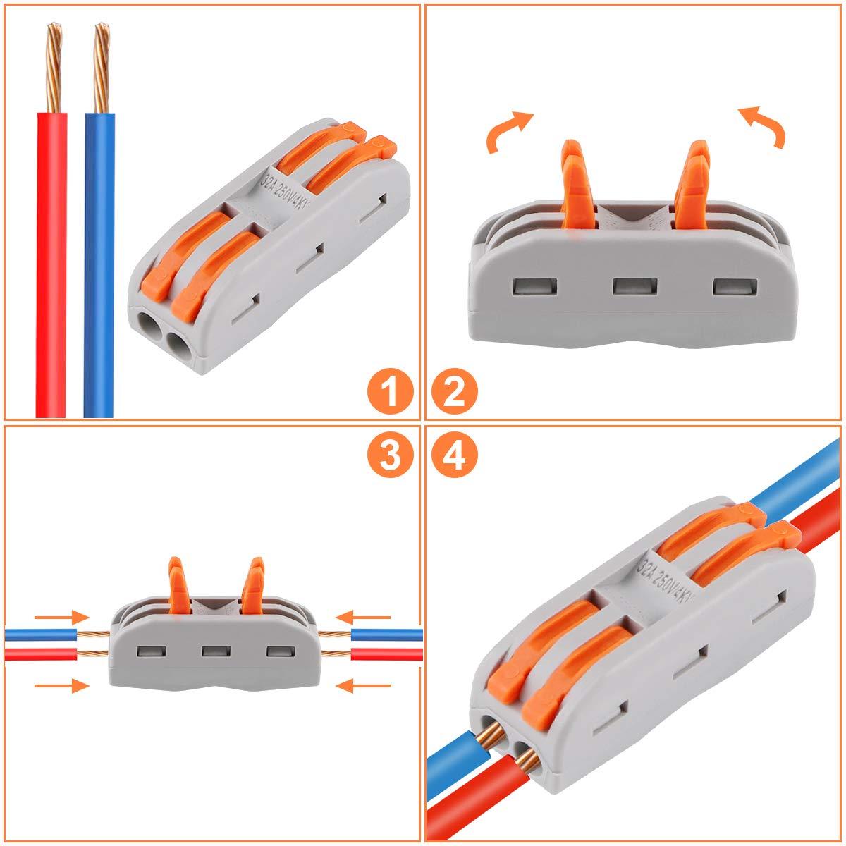 20 Pcs Conectores de Cable compactos Palanca Tuerca Cable Conector Bloque de Terminales Surtidas Conector SPL-2 10Pcs, SPL-3 10Pcs