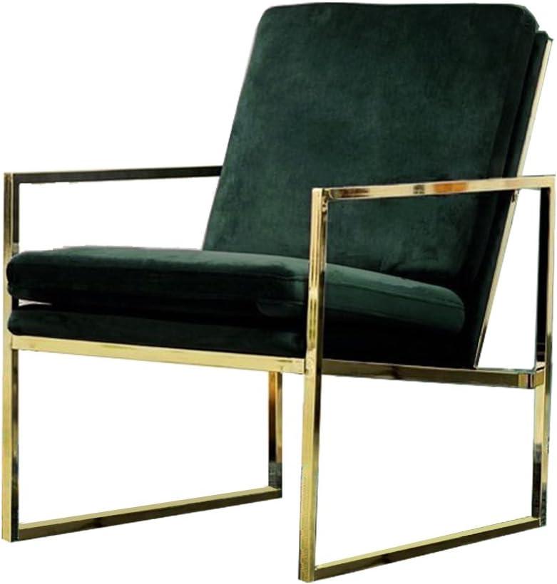 Mr.do Velvet Armchair Dark Green Single Lounge Chair Upholstered Arm Chair Modern Furniture Home Decor for Living Room Bedroom Cafe, Brass Plated Gold Finish with Metal Frame Scandinavian Design