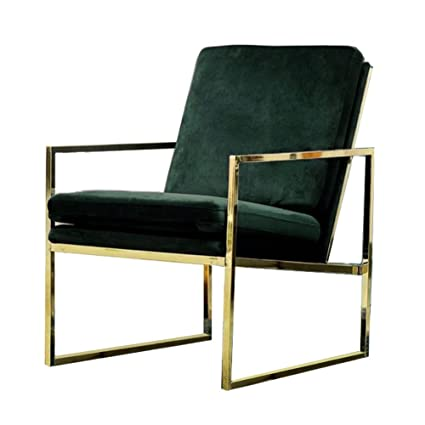 Mr Do Velvet Armchair Dark Green Single Lounge Chair Upholstered Arm Chair Modern Furniture Home Decor For Living Room Bedroom Cafe Brass Plated Gold