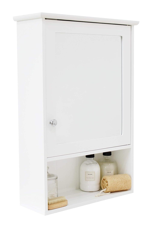 Single Mirror Bathroom Cabinet Cupboard Door Open Shelf Storage Unit
