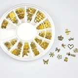 (LRR-Nail Art BB0) - 350buy 12 10pcs Nail Art Gold Metal Slice Stickers Design Decoration Wheel for Nail Art