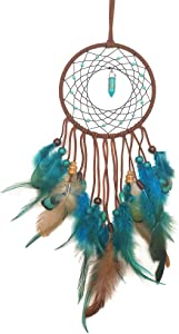 WOWDING Dream Catcher Blue Lucky Stone and Feathers, Handmade Indians Traditional Circular Net for Wall Hanging Decor, Bedroom Kids, Home Decoration, Art Ornament Craft Gift