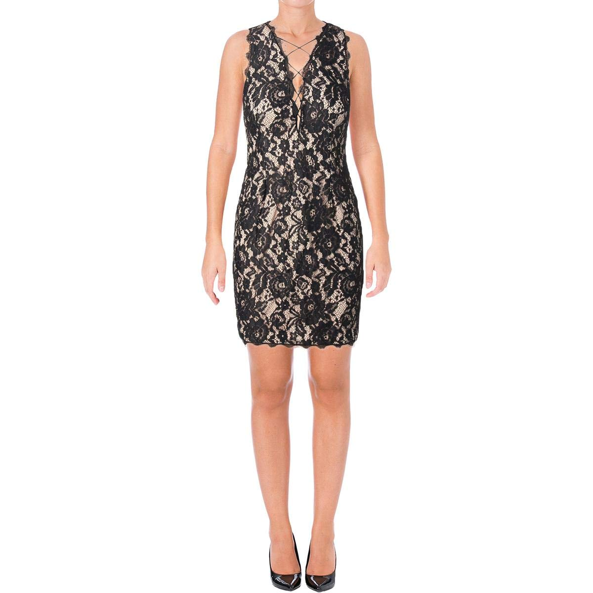 a8479fd77ba317 Aidan Mattox Womens Sleeveless Plunging Lace Cocktail Dress With Strapping  at Amazon Women s Clothing store