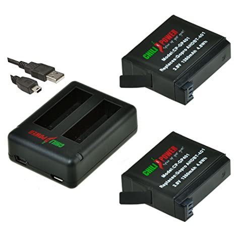ChiliPower GoPro AHDBT-401 Kit: 2x Batería (1260mAh) + Mini USB Cargador de batería doble para GoPro Hero 4, AHBBP-401