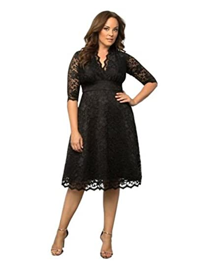 Leader of the Beauty Womens Plus Size Party Lace Dress Prom Gown Black UK 18