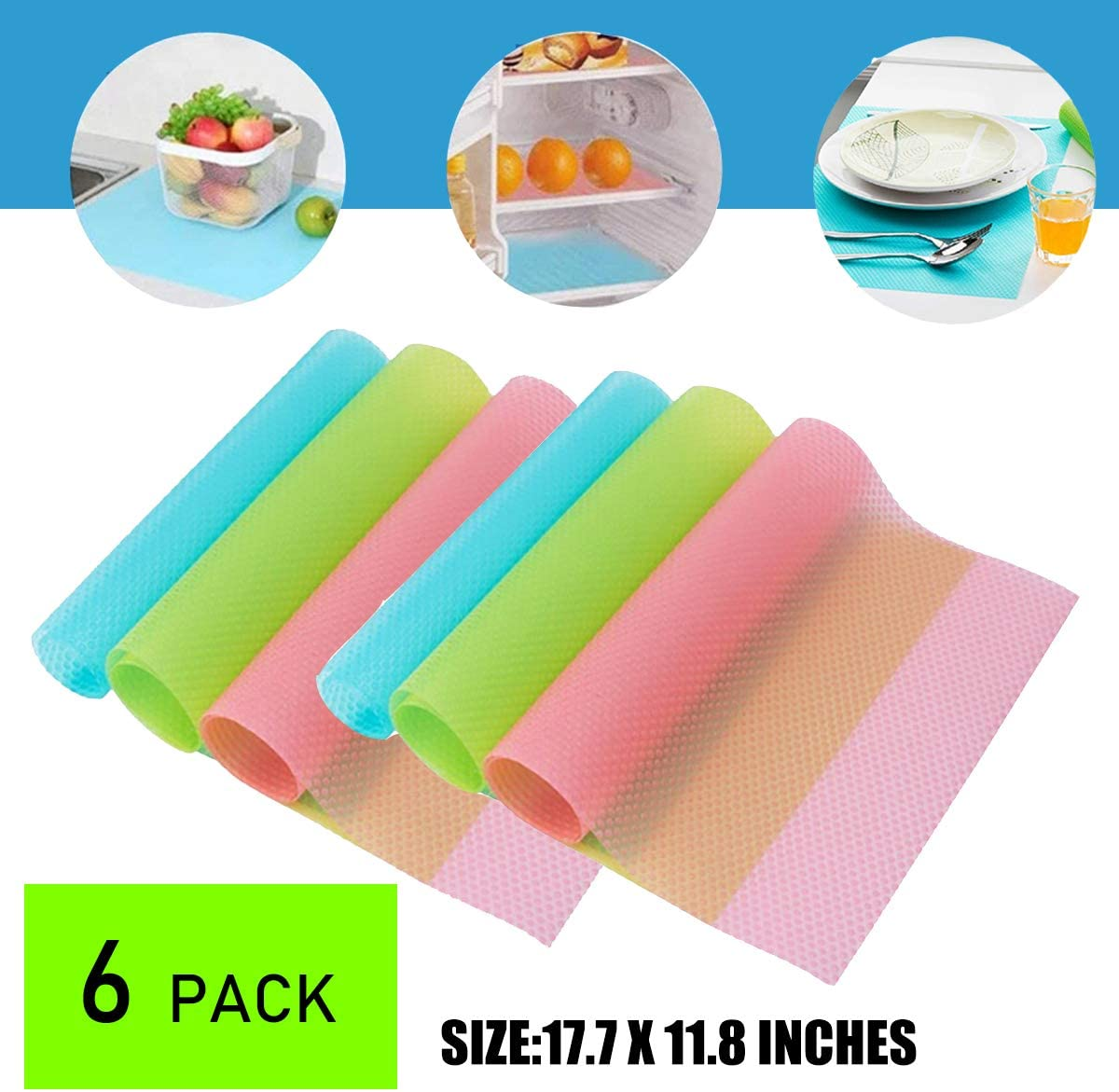 OJYUDD 6 PCS Refrigerator Mats EVA Shelf Liners Refrigerator Liners Can Be Cut Refrigerator Mats Pad Washable Fridge Mats Liners 2 Pink/2 Green/2 Blue