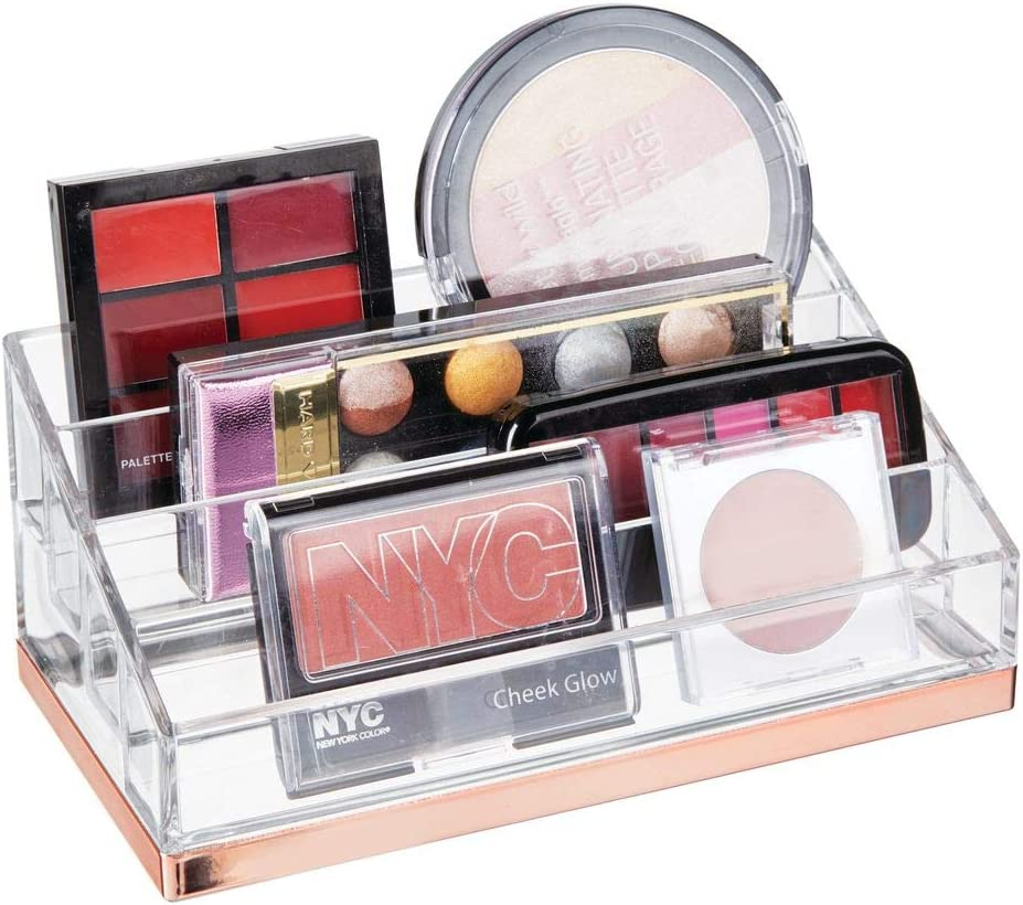 mDesign Plastic 4 Tier Cosmetic Palette Organizer with 4 Compartments for Bathroom Vanity, Countertop or Cabinet to Hold Makeup, Lipstick, Eyeliner, Beauty Accessories - Clear/Rose Gold