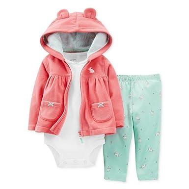 6d0850d3d Carters Infant Girls 3 Piece Set Pink Bunny Rabbit Hoodie Leggings & Shirt  3m