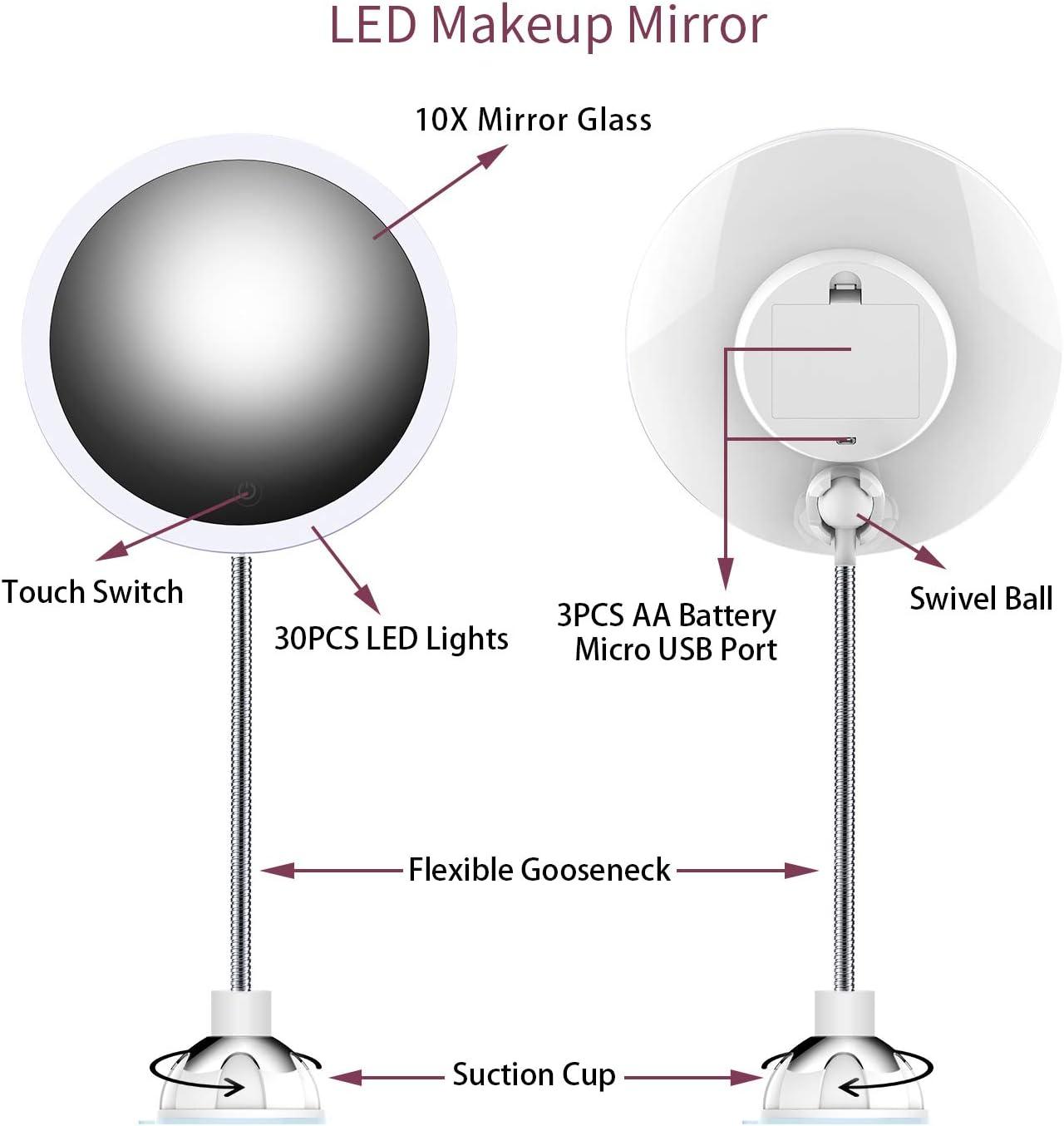 Diameter 6.2/'/' sin Niebla Espejo de Ducha sin Marco Espejo para Colgar en la Pared Incluye 1 Gancho Adhesivo XoYo Espejo de Ducha Grande 10 aumentos Espejo de Afeitado de Viaje