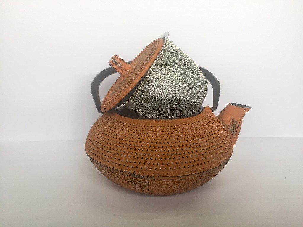 Tetera de hierro colado con filtro tetera de metal peque/ña tama/ño individual para infusi/ón y t/é inducci/ón y gas teteras para vitroceramica capacidad 0.3 litros y color naranja