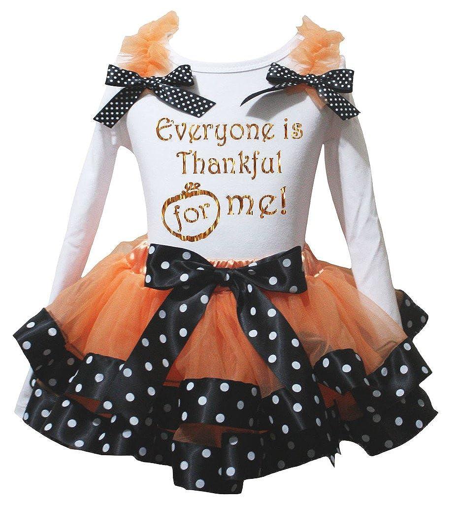 Petitebella Everyone is Thankful for Me L//s Shirt Black Orange Petal Skirt Nb-8y