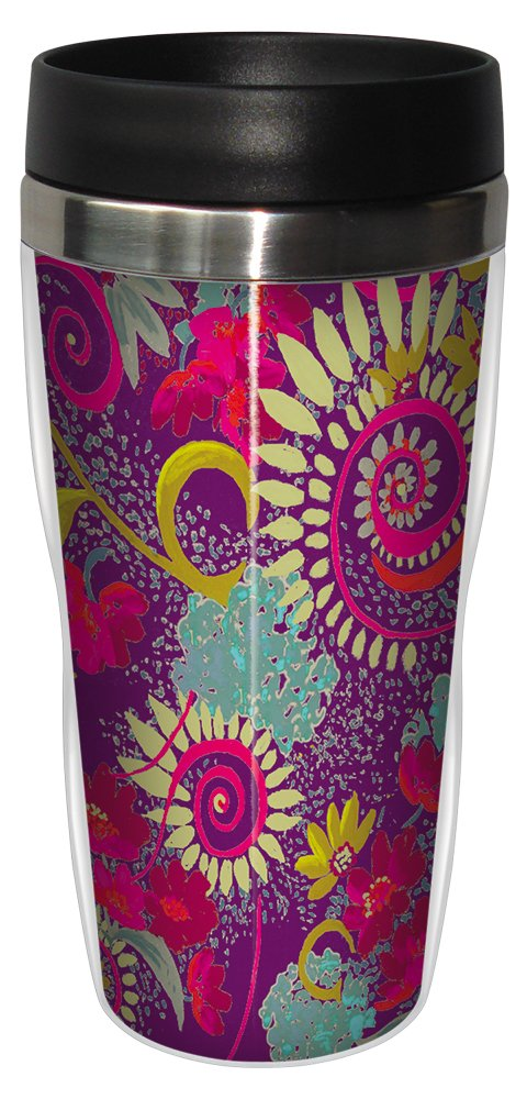 16-Ounce Tree Free Tree-Free Greetings sg23726 Katherine Wheel Floral Purple by Nel Whatmore Travel Tumbler