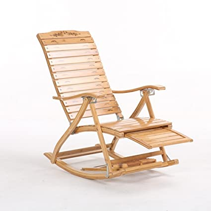 Lounge Chairs ZHIRONG Folding Chair Recliners Type S Bamboo Rocking Chair  Old Man Siesta Chair Massage