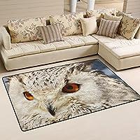 LORVIES Snowy Owl Area Rug Carpet Non-Slip Floor Mat Doormats Living Room Bedroom 60 x 39 inches