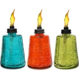TIKI Brand 6-inch Glass Table Torch 3 pack Red, Green & Blue