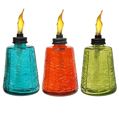 TIKI Brand 6 Inch Glass Table Torch 3 Pack Red, Green U0026 Blue