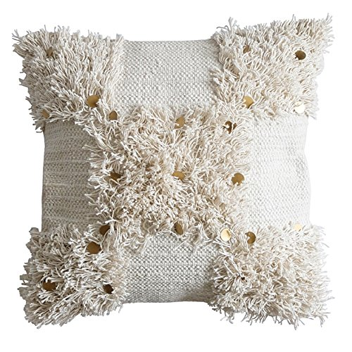 Koko's House Ivory Fringe Throw Pillow Cover with Gold Paillette Sequin Accents - 20 in x 20 (Koko Cotton Pillow)